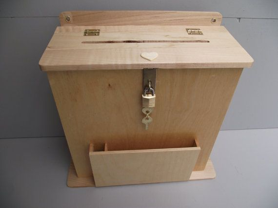 Large Suggestion Box Or Wedding Card Holder Reclaimed Wood With Slot Key And Lock Hinged Natural Finish