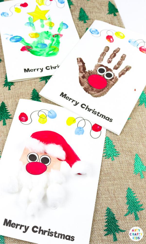 Handprint Christmas Cards #christmascraftsforkidstomake