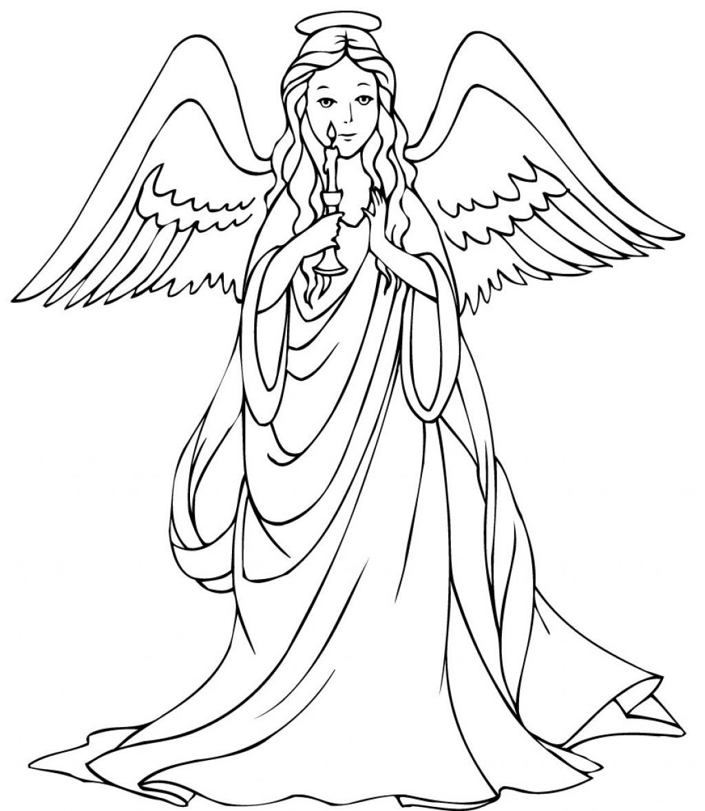 angel Coloring Pages | Coloring Pages of Christmas Angel With Candle ...