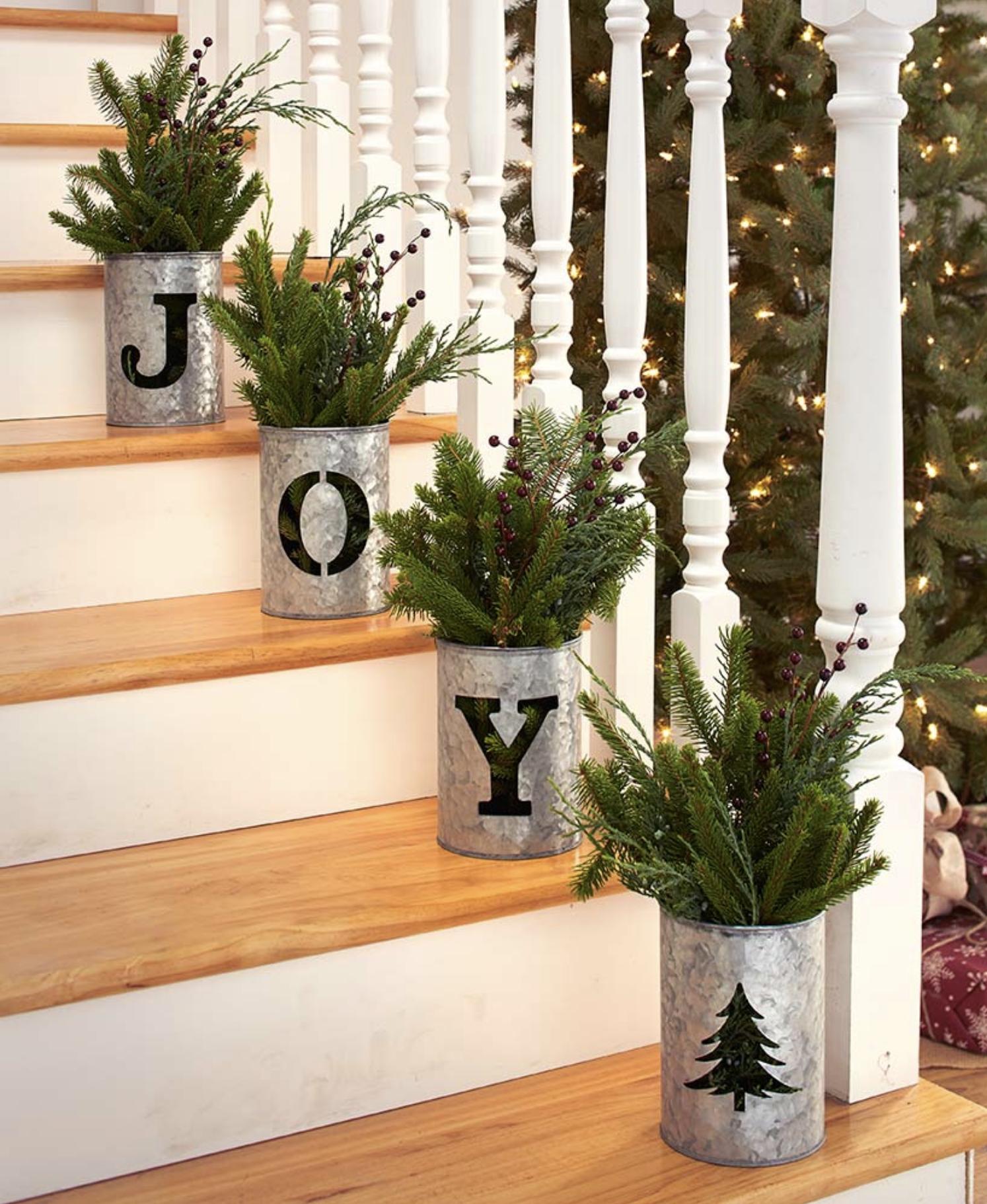 4 Pc Galvanized Holiday Buckets Christmas Staircase Christmas Home Christmas Decorations