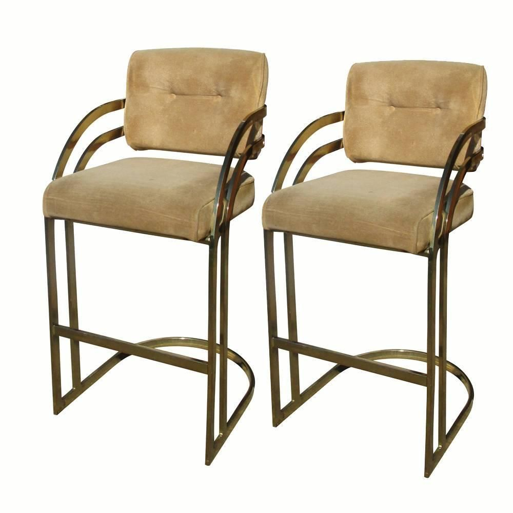 Vintage Pair of Milo Baughman Brass Cantilever Counter Bar Stools