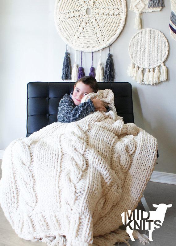DIY Knitting PATTERN - Triple Cable Throw Blanket / Rug 49\