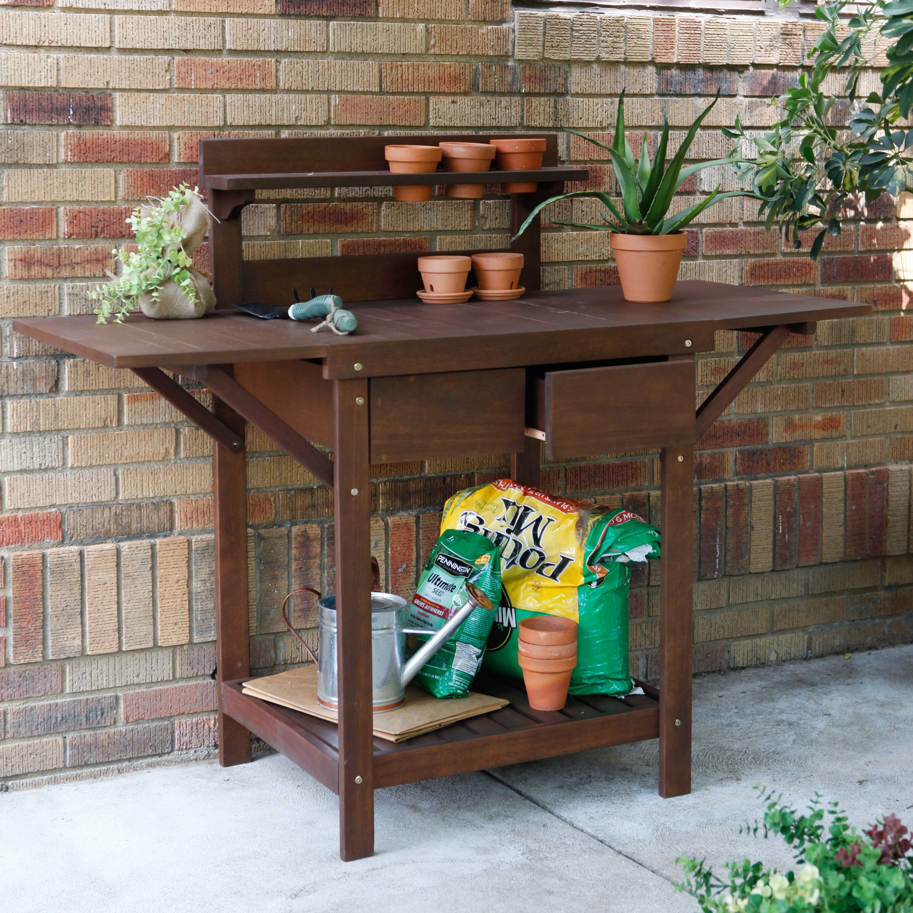 Coral Coast Cabos Collection Eucalyptus Wood Potting Bench   Modern    Outdoor Planters   By Hayneedle