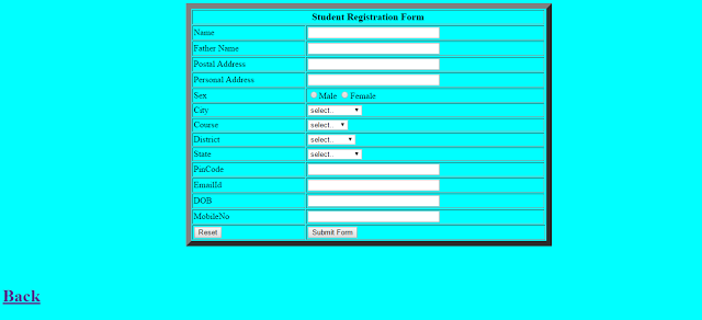Programming With C C  Java Create A Student Registration Form