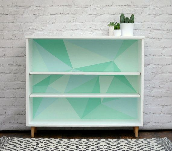 Mid Century Shelving Bookcase Upcycled And Painted With A Modern Mint Geometric Pattern By Elizabethdo Painting Bookcase Revamp Furniture Upcycled Furniture