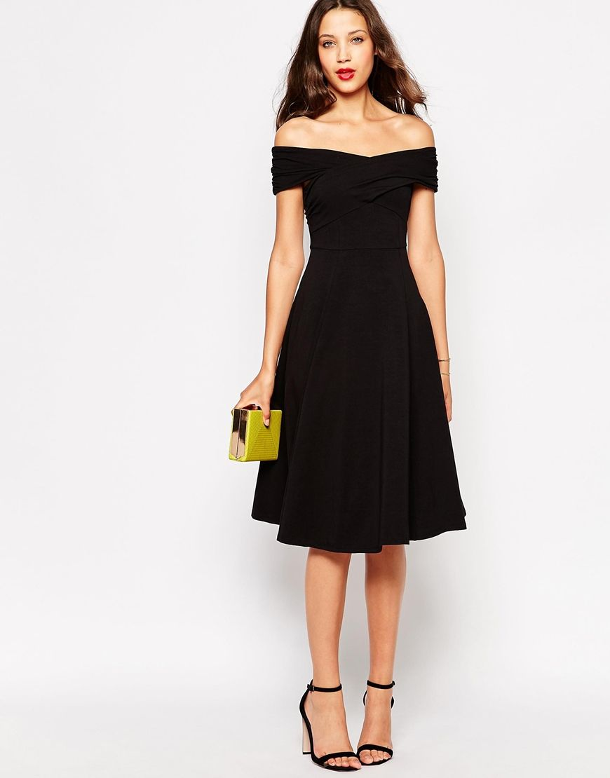 image 4 asos tall robe patineuse avec encolure bardot. Black Bedroom Furniture Sets. Home Design Ideas