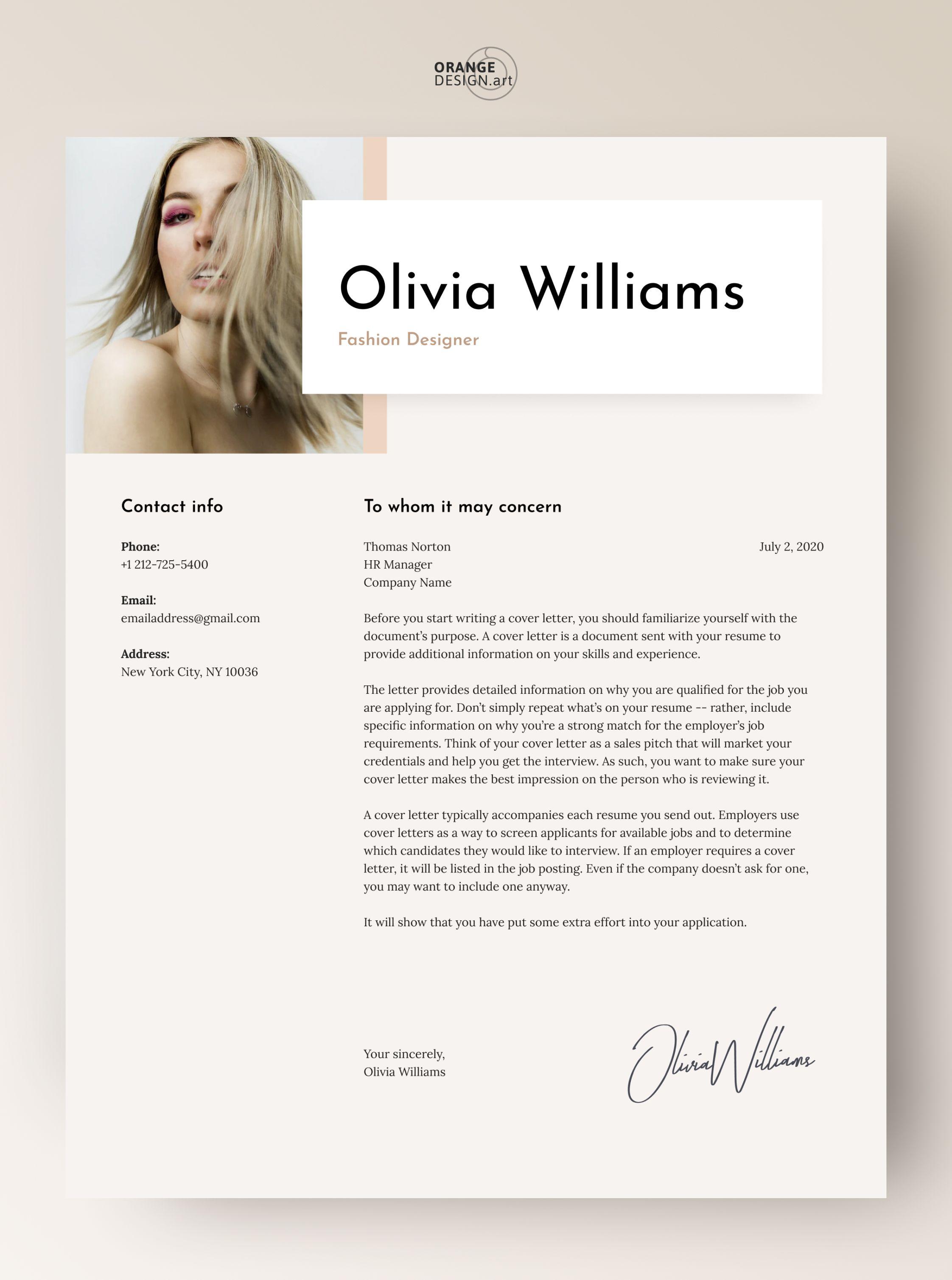 Modern Cv Template For Word Fashion Designer Cv Template With Etsy In 2021 Modern Cv Template Creative Cover Letter Cv Template
