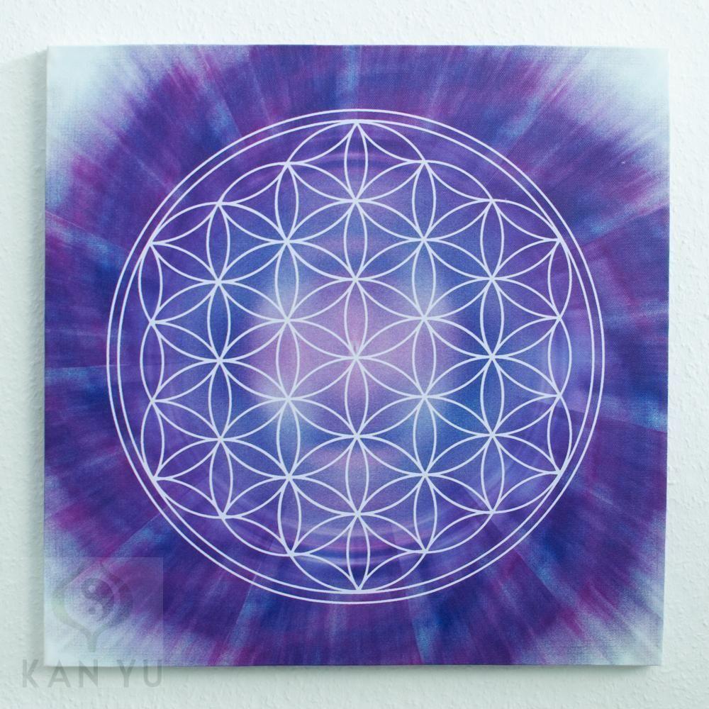 details zu blume des lebens leinwandbild lila wandbild kunstdruck energiebild 40 cm flower