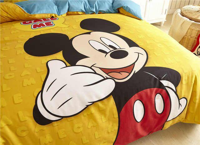 4dfd872f756c2 Mickey Mouse Dessin Animé De Disney 3D Imprimé Ensembles de Literie Enfants  de Chambre Décor Coton