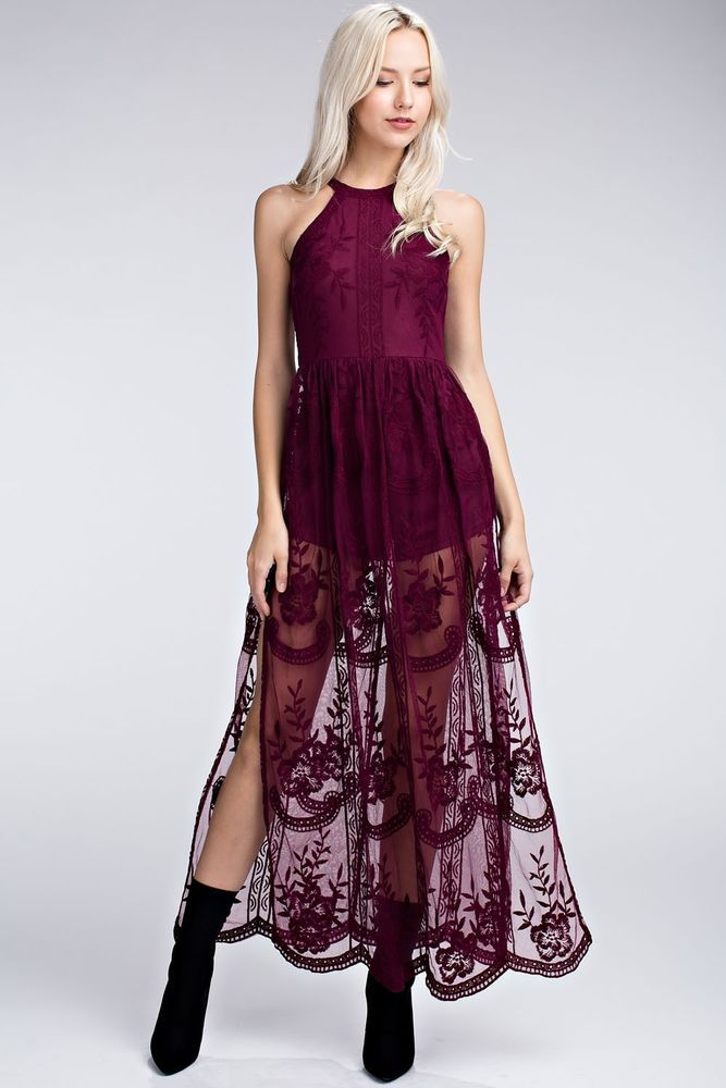 b87b5c76fb49 Honey Punch Halter Style Lace Maxi Romper - Burgundy Wine. STYLE  7ID1049C   HoneyPunch  Maxi  fashion  style  ootd  shopping  adaniasboutique
