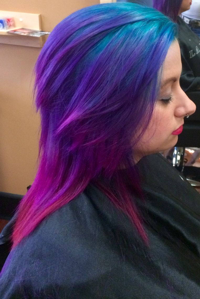 Teal Purple And Pink Colour Melt Hair Color Purple Purple Hair Pink Hair