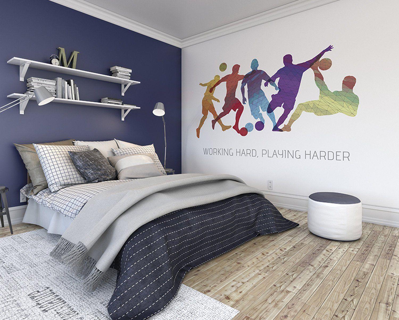 Football Game Wallpaper Mural Boys Football Players Bedroom Wall