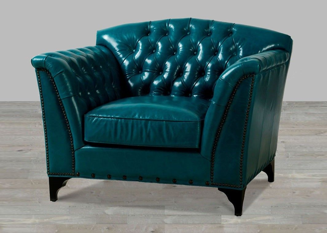 Charming Dark Turquoise Top Grain Leather Chair