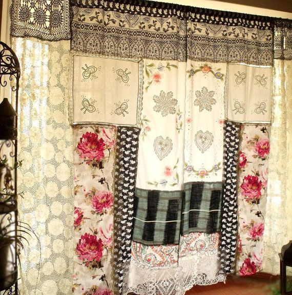 pair 2 shabby chic boh me rideaux rideaux panneaux hippie boheme patchwork d co maison. Black Bedroom Furniture Sets. Home Design Ideas