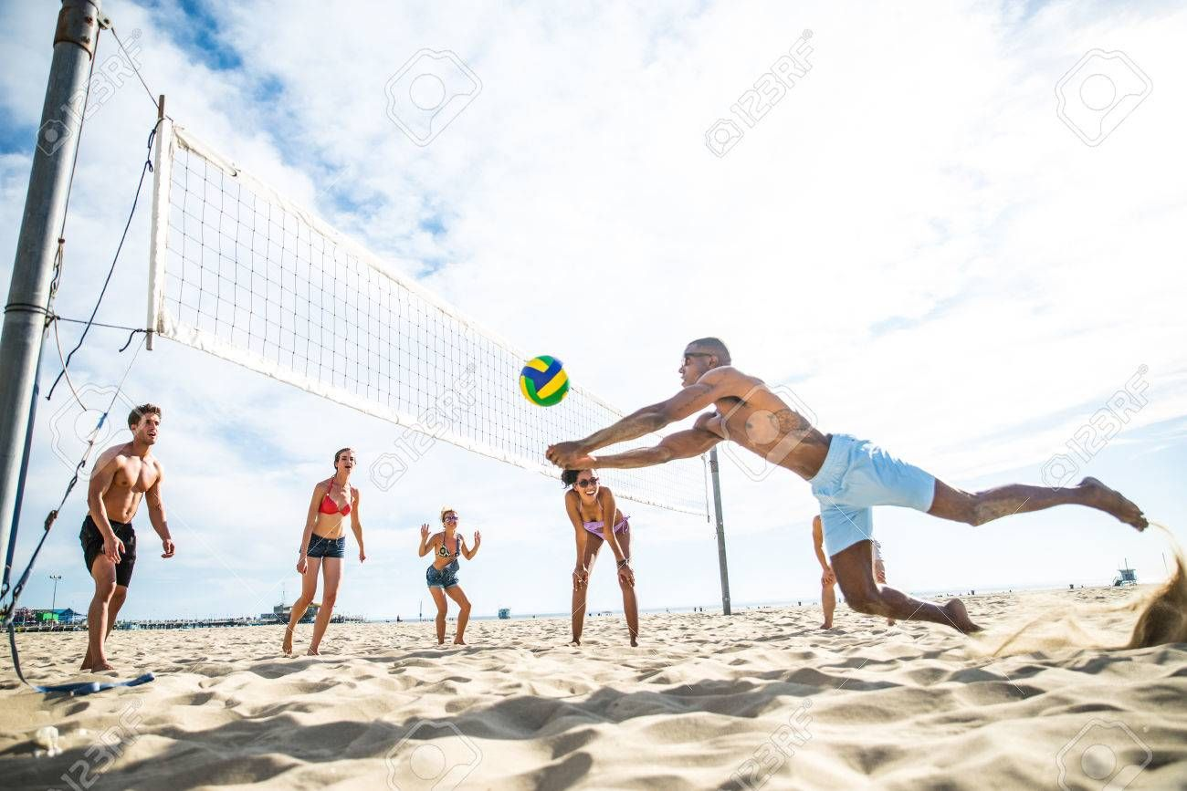 Group Of Friends Playing Beach Volley Multi Ethic Group Of People Having Fun On The Beach Affiliate Beach V Summer Events Ideas Beach Volleyball Beach