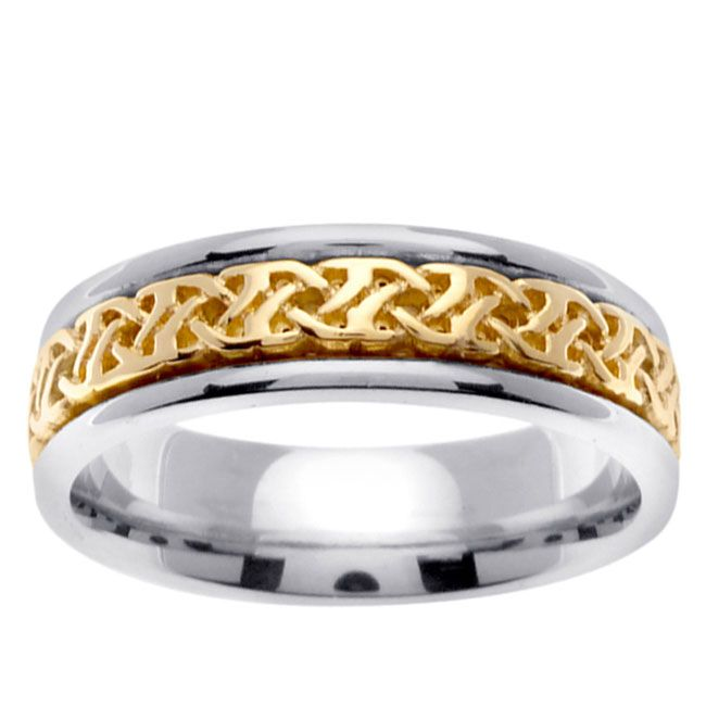 14k Two Tone Gold Celtic Woven Design Men S Wedding Band Size 10 5 Solid