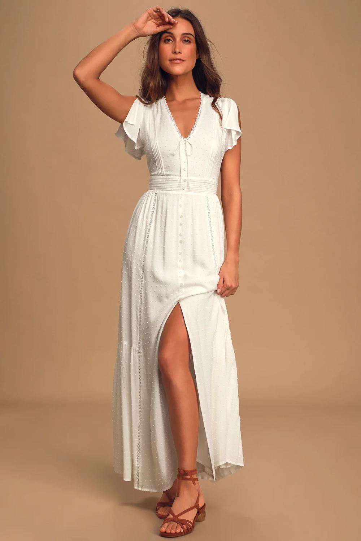 Completely In Love White Swiss Dot Button Front Midi Dress White Dresses For Women Cute White Dress Midi Dress [ 1500 x 1000 Pixel ]