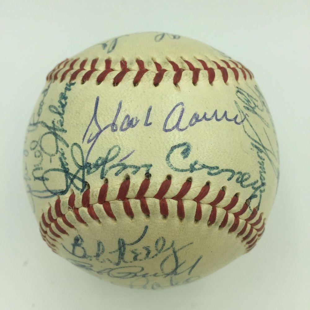 1954 Hank Aaron Rookie Milwaukee Braves Team Signed Baseball Psa Dna Coa Braves Hank Aaron Psa