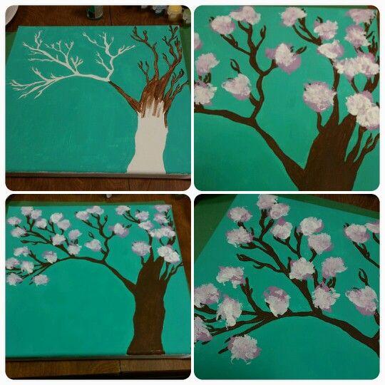 Arizona Tea Inspired Cherry Blossom Tree Painted By Myself Cherry Blossom Tree Tree Painting Blossom Trees