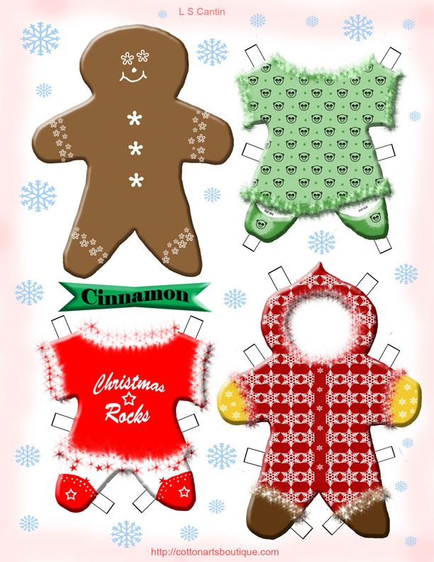Cinnamon \ Spice gingerbread paperdolls #FLVS #Christmas - christmas paper template
