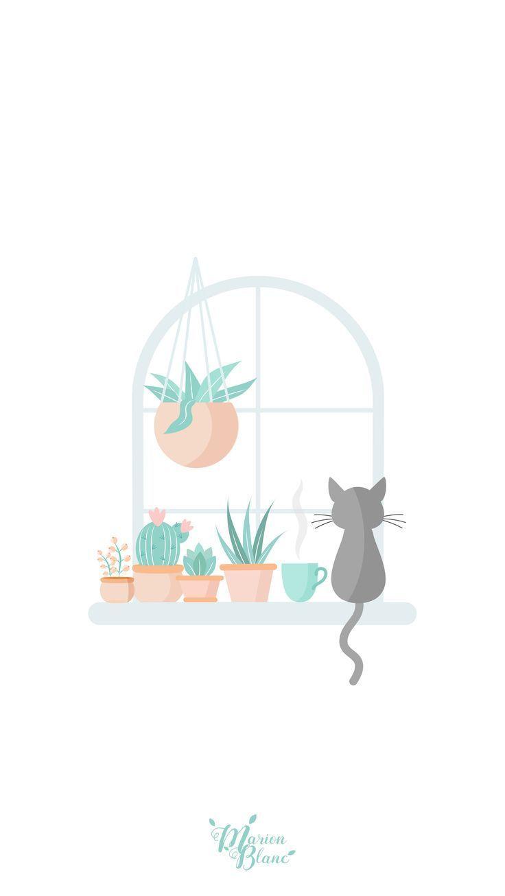Cat Spring Marion Blanc Click Here To Download Cute Wallpaper Pinterest Click Here To Download Cute Wallpaper Lukisan Cat Air Ilustrasi Kertas Dinding