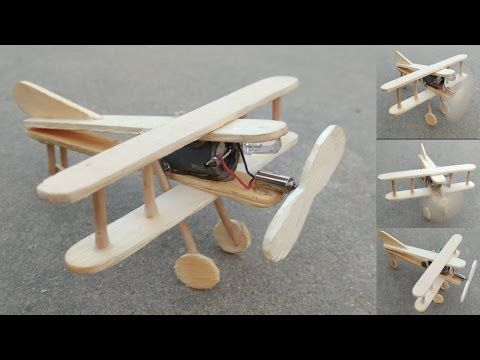 How To Make A Plane With Dc Motor Ice Cream Stick Craft Toy Wooden Plane Diy Youtube Craft Stick Crafts Pop Stick Craft Ice Cream Stick