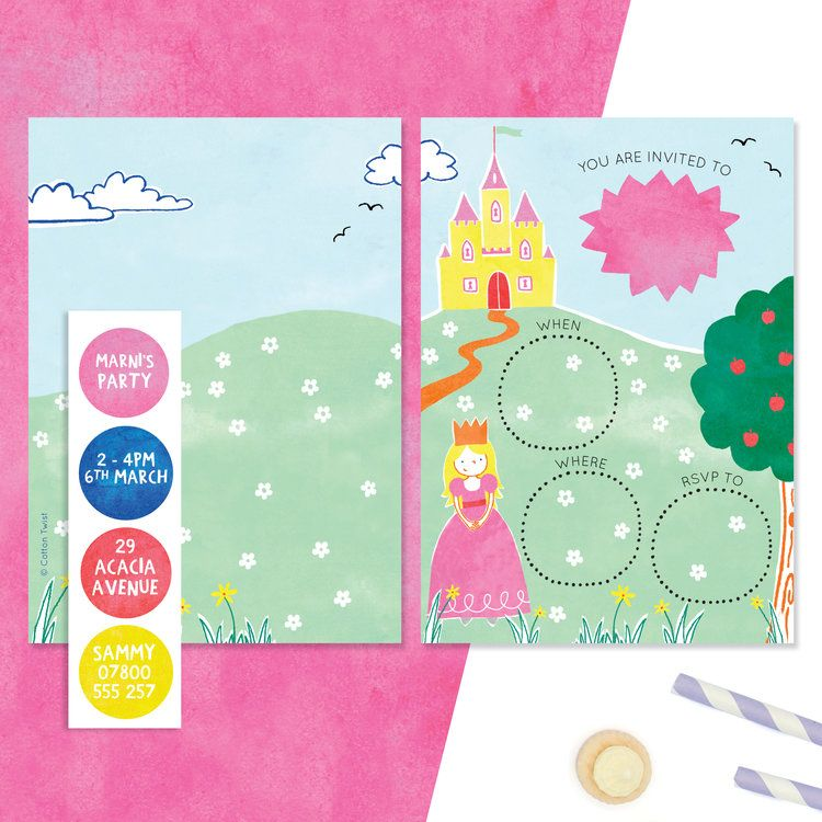 Love these princess sticker invites fun activity for the child to complete personalised invitations