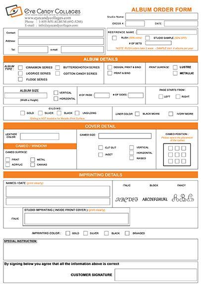 Order Form Wedding Album Design Form Design Album Design