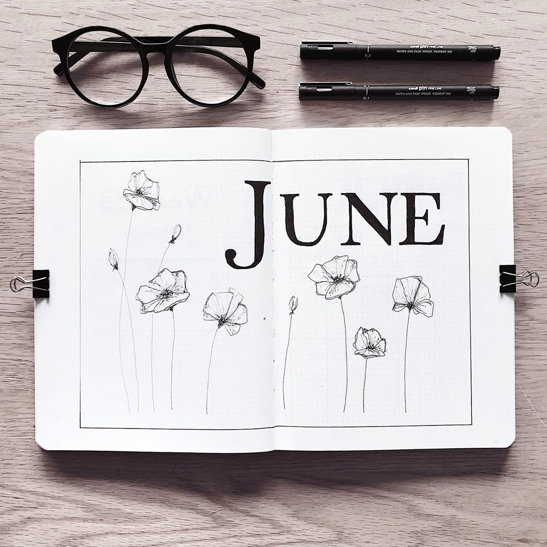 Bullet journal monthly cover page, June cover page.