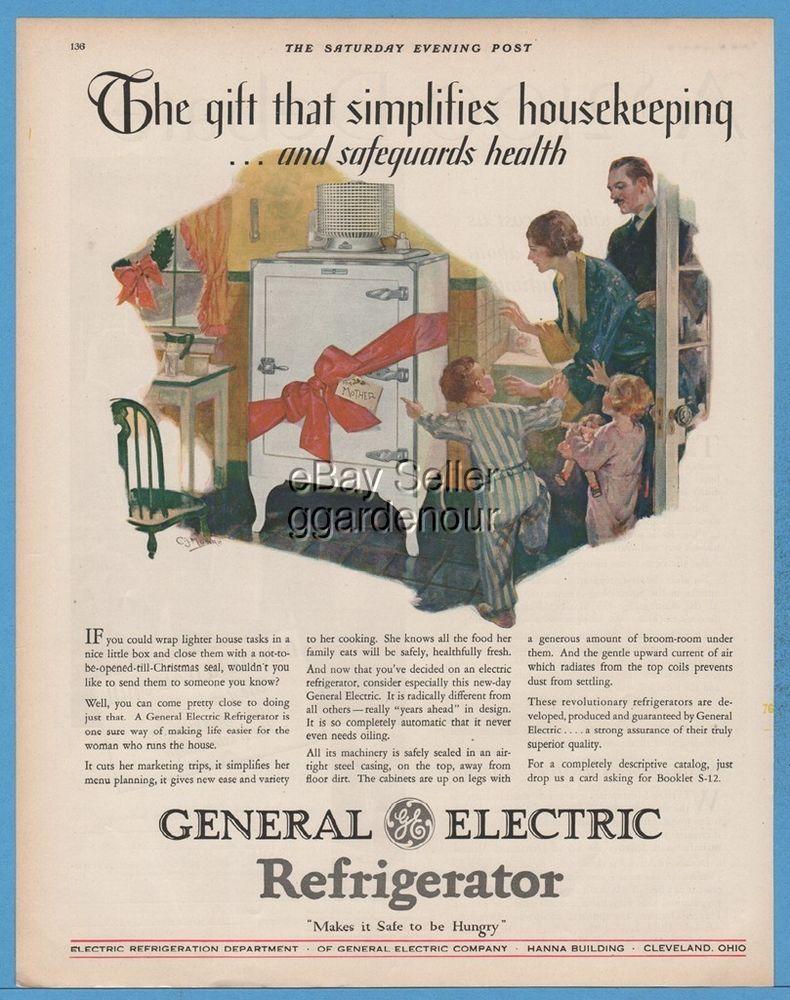 1928 General Electric Refrigerator Appliance Kitchen