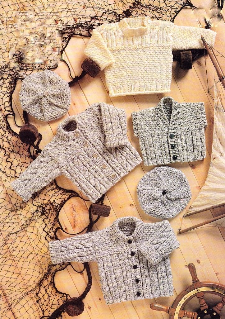 Baby Aran Tunic Jacket Waistcoat Beret 16 24 Knitting Pattern