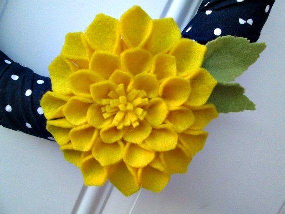 Photo of Spring Wreath, Navy Yellow Wreath, Navy Polka Dot, Dahlia Flower, Felt Flower, Modern Wreath, Home Decor, Spring Decor, Handmade Wreath