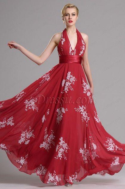 Vestido rojo corte v