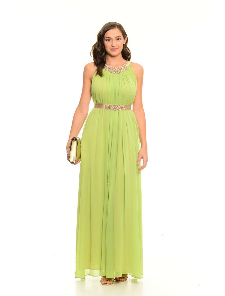 Diffusione Tessile DANZA verde  Abito lungo con motivo plissé. SPEDIZIONE  GRATUITA oltre i 25€! 77db5fffd11e