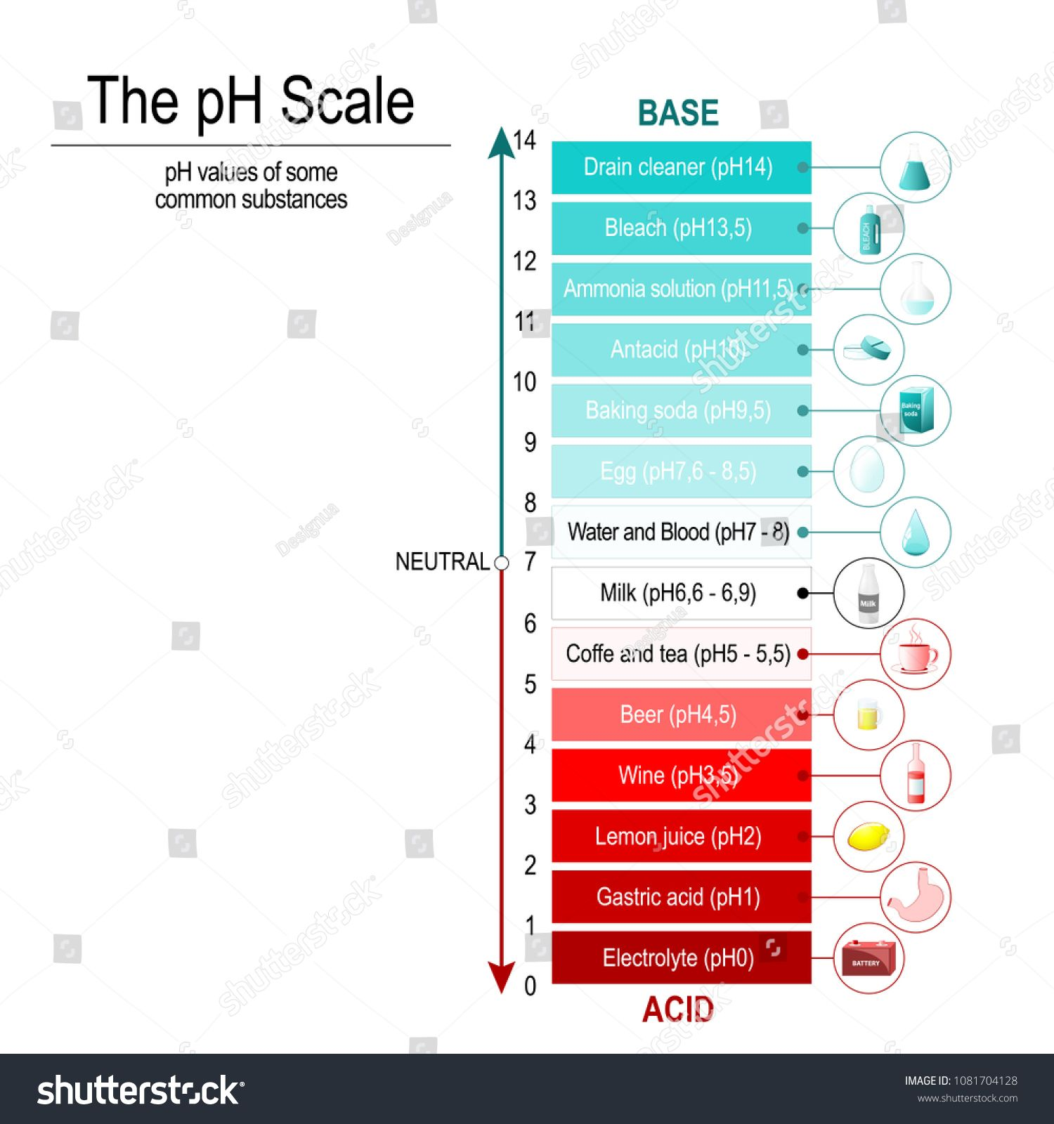 medium resolution of ph scale with ph values of some substances vector diagram sponsored values scale