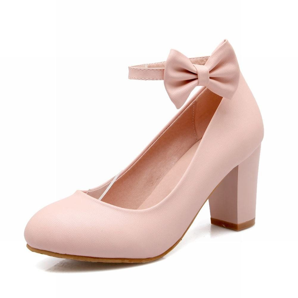 Pink dress shoes for ladies  Carolbar Sweet Womenus Buckle Bows Lolita Ankle Strap Chunky High