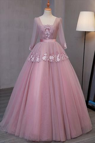 4ad336c7c3b Pink chiffon tiered two pieces sequins A-line beaded long evening dresses
