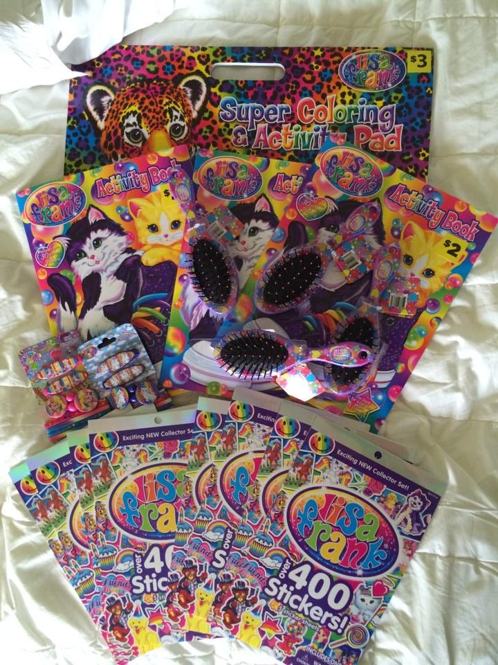 Some Of These Fun Lisa Frank Products Can Be Found At Dollar General Lisa Frank Stickers Lisa Frank Cross Paintings