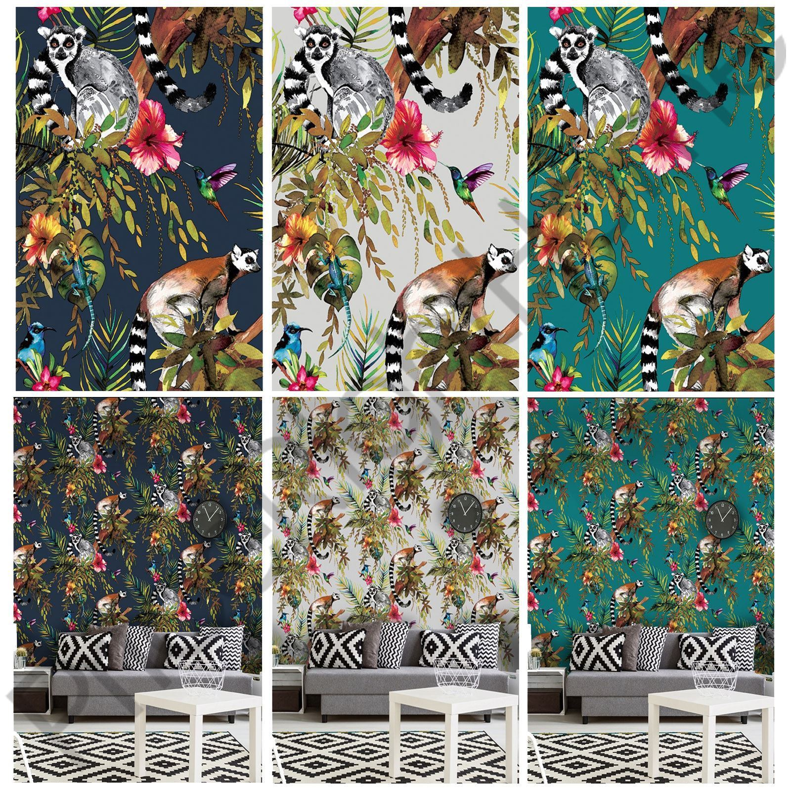 This Unique Lemur Wallpaper Features A Collection Of Detailed Ilrated Style Lemurs With Colourful Hummingbirds And