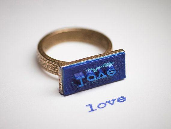 LOVE stamp ring $39