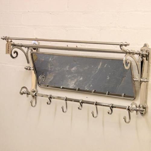 Maravi Train Rack With Mirror Coat Hanger Wall Mounted 7 Hooks Shelf Handmade Mirrors For Sale Wall Hanger Coat Rack Wall