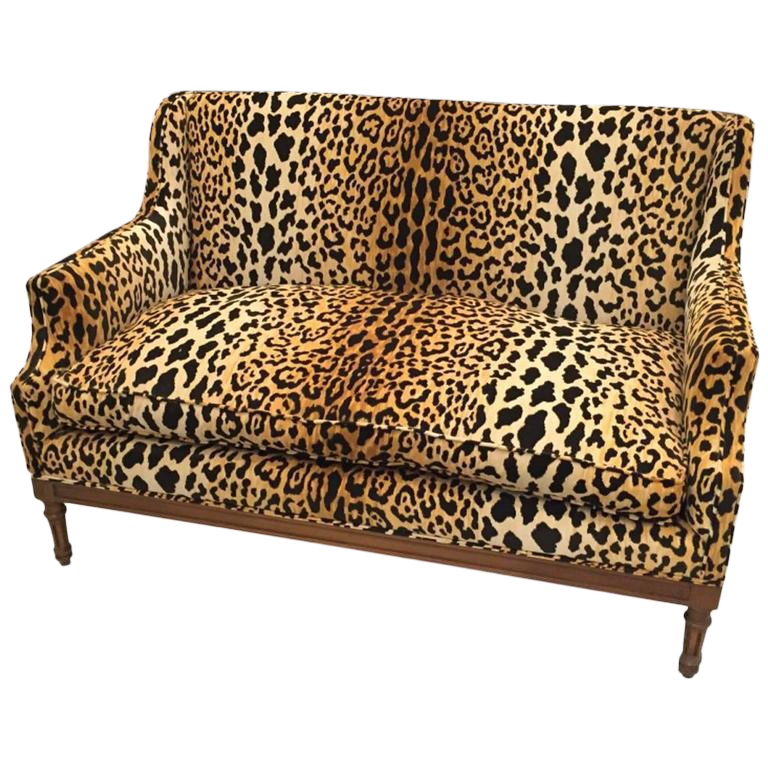 Really Cheap Furniture For Sale: Mid-Century Leopard Print Sofa