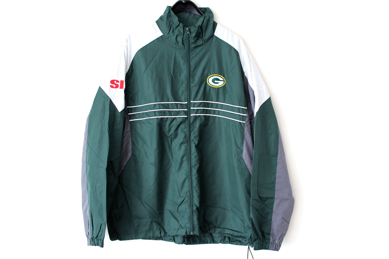 Vintage Nfl Reebok Windbreaker Green Football Jacket Hip Hop Etsy Football Jackets Adidas Hoodie Women Full Zip Sweatshirt [ 2000 x 3000 Pixel ]