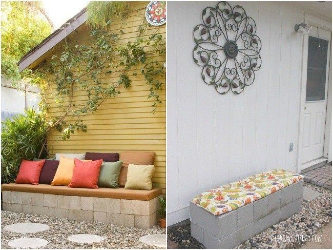 Bancos con bloques prefabricados cemento BANCO DE JARDÍN - jardines con bancas