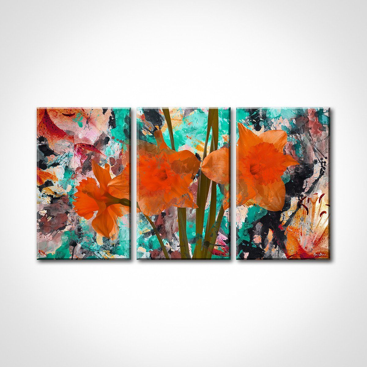 Abstract art canvas print modern wall painting teal and orange decor synthesis that inspires pinterest museums canvases also rh
