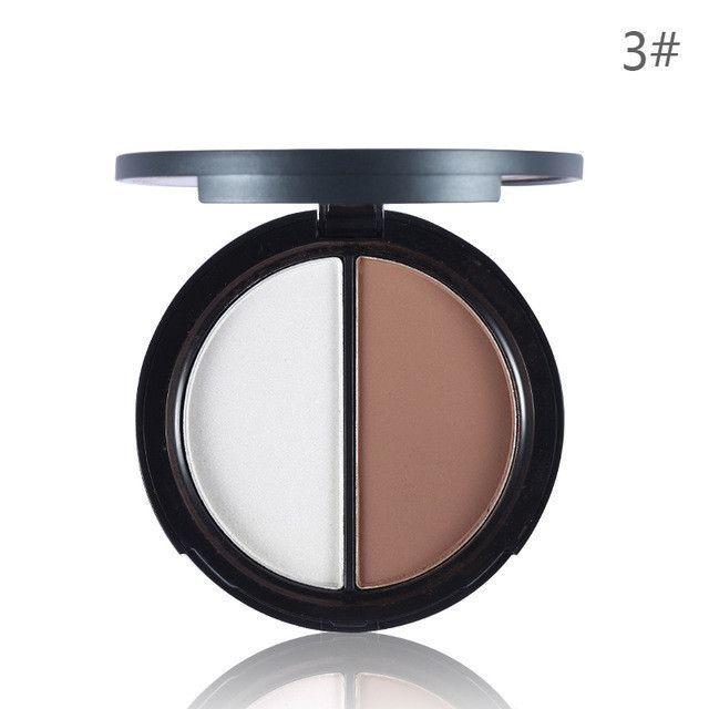 UCANBE 2 Colors Contour Palette Highlighter & Bronzer Press Powder Shimmer Grooming Powder Professional Facil Concealer Makeup