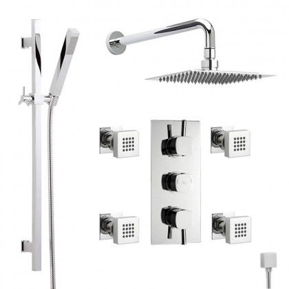 Thermostatic Shower System With Hand Sprayer Kit And 4 Body Jet