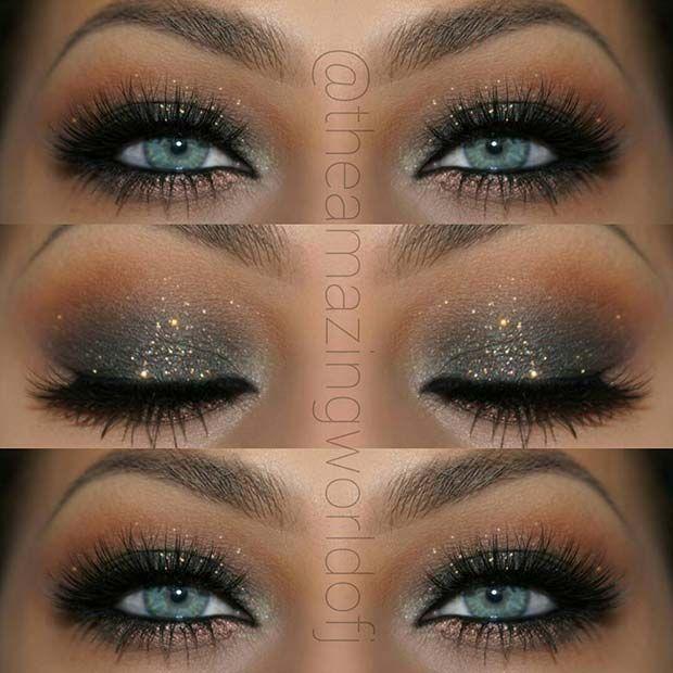 Photo of Sparkly, Black Smokey Eye for blue eyes