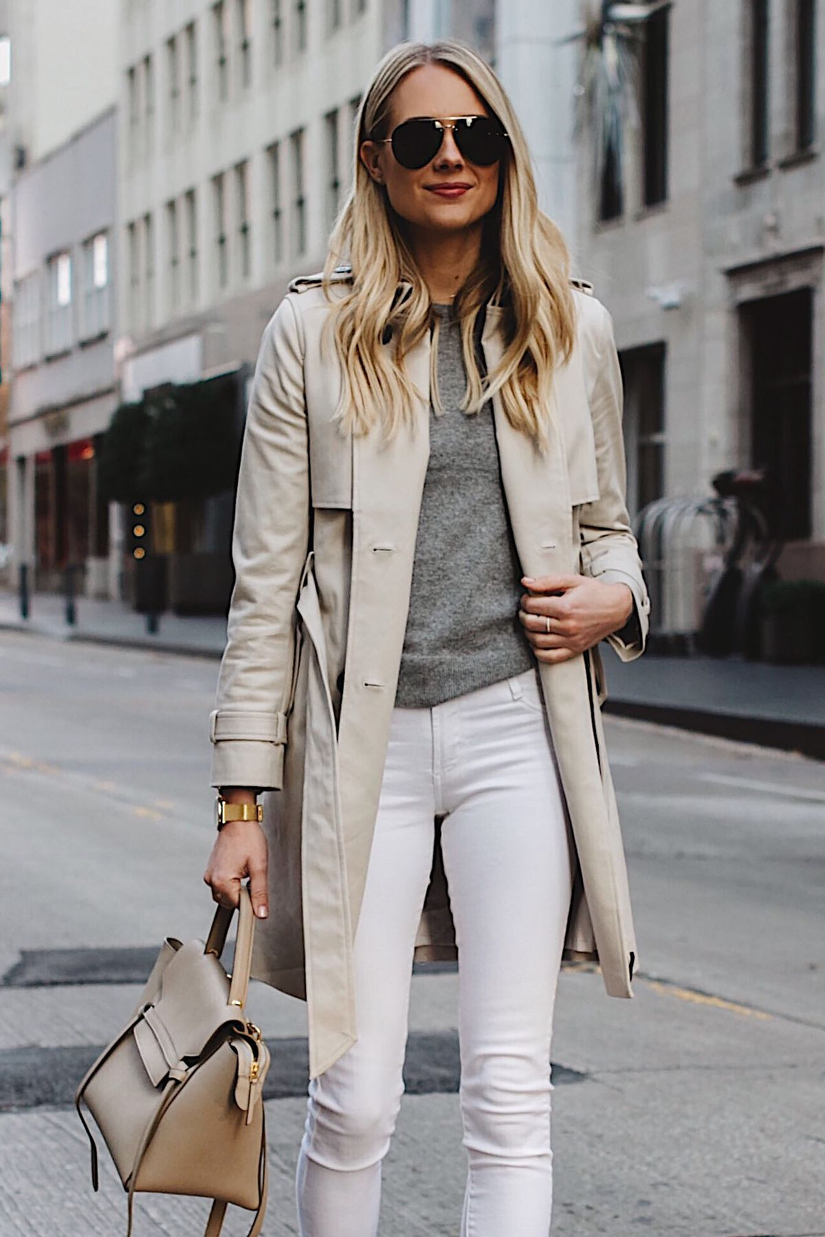 b63a8336c8 Blonde Woman Wearing Club Monaco Trench Coat Grey Sweater White Skinny  Jeans Celine Belt Bag Aviator Sunglasses Fashion Jackson Dallas Blogger  Fashion ...