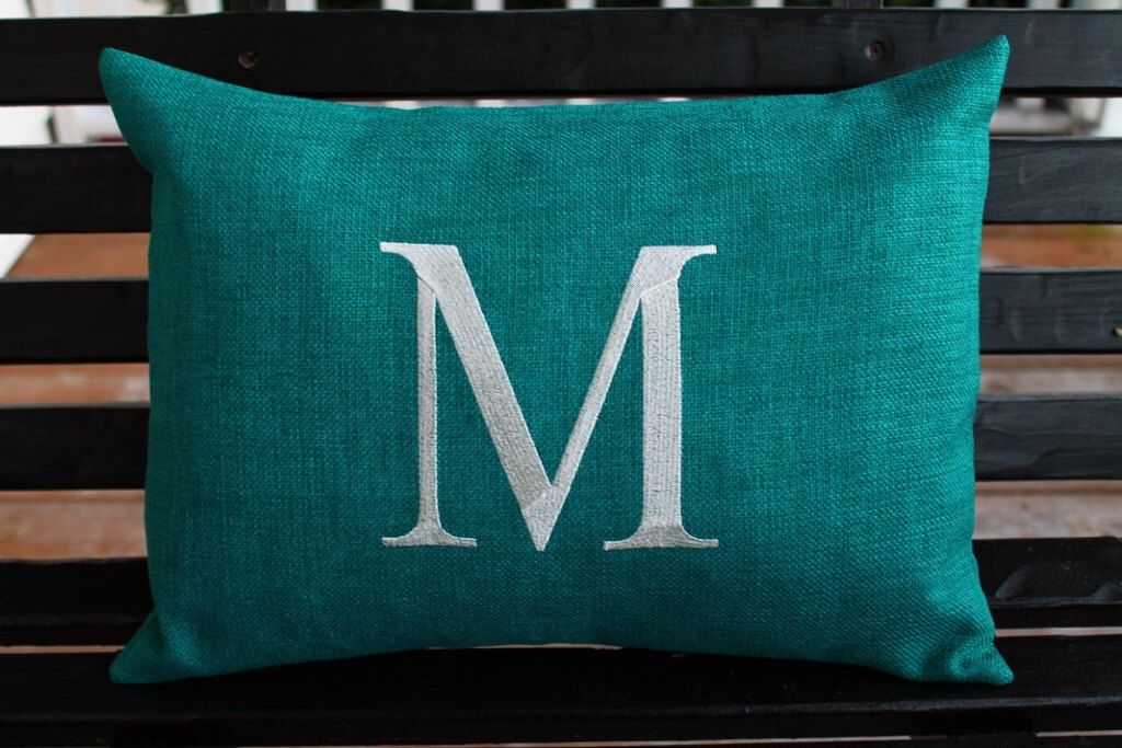Initial Pillow Covers Unique Monogrammed Outdoor Initial Pillow Cover In Tealdesignsbythem On Inspiration